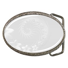 Light Gray Abstract Flowers Belt Buckle (Oval)
