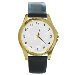Light Gray Abstract Flowers Round Metal Watch (gold Rim)