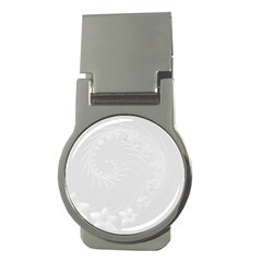 Light Gray Abstract Flowers Money Clip (round)