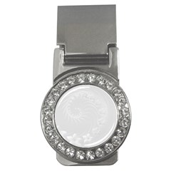 Light Gray Abstract Flowers Money Clip (CZ)