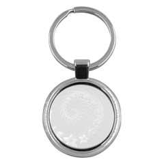 Light Gray Abstract Flowers Key Chain (Round)