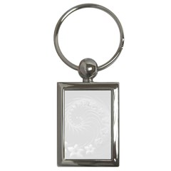 Light Gray Abstract Flowers Key Chain (Rectangle)