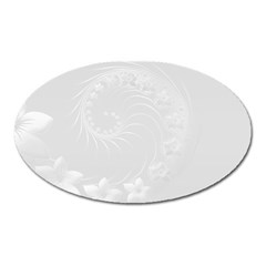 Light Gray Abstract Flowers Magnet (oval)