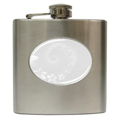 Light Gray Abstract Flowers Hip Flask