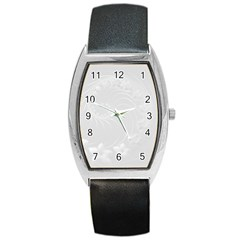 Light Gray Abstract Flowers Tonneau Leather Watch