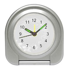 Light Gray Abstract Flowers Desk Alarm Clock