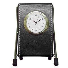 Light Gray Abstract Flowers Stationery Holder Clock