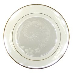 Light Gray Abstract Flowers Porcelain Display Plate