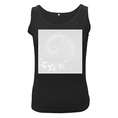 Light Gray Abstract Flowers Womens  Tank Top (Black)