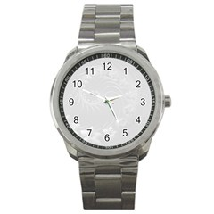 Light Gray Abstract Flowers Sport Metal Watch