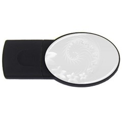 Light Gray Abstract Flowers 4GB USB Flash Drive (Oval)