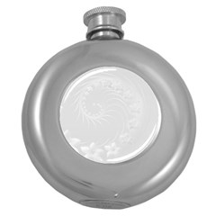 Light Gray Abstract Flowers Hip Flask (round)