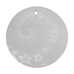 Light Gray Abstract Flowers Round Ornament (two Sides)