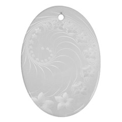 Light Gray Abstract Flowers Oval Ornament (Two Sides)