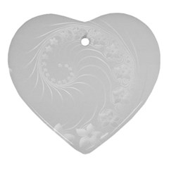 Light Gray Abstract Flowers Heart Ornament (Two Sides)