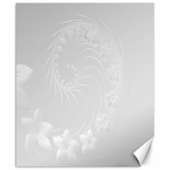 Light Gray Abstract Flowers Canvas 8  x 10  (Unframed)