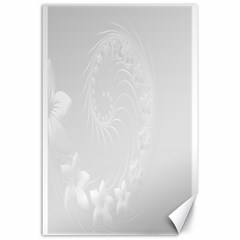 Light Gray Abstract Flowers Canvas 24  x 36  (Unframed)