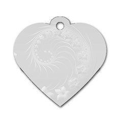 Light Gray Abstract Flowers Dog Tag Heart (Two Sided)