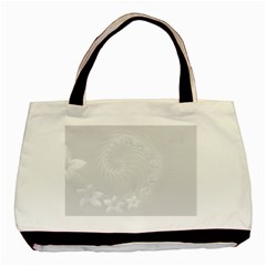 Light Gray Abstract Flowers Twin-sided Black Tote Bag