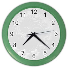 Light Gray Abstract Flowers Wall Clock (Color)
