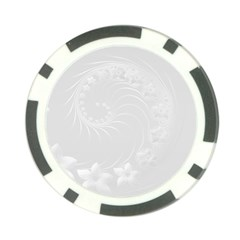 Light Gray Abstract Flowers Poker Chip
