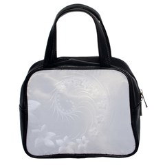 Light Gray Abstract Flowers Classic Handbag (Two Sides)