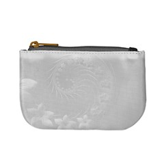 Light Gray Abstract Flowers Coin Change Purse