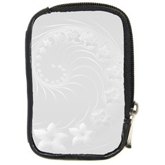 Light Gray Abstract Flowers Compact Camera Leather Case