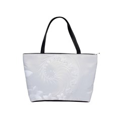 Light Gray Abstract Flowers Large Shoulder Bag