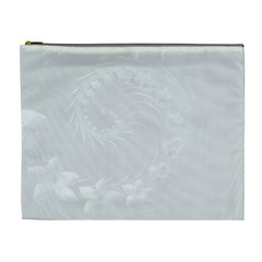 Light Gray Abstract Flowers Cosmetic Bag (XL)