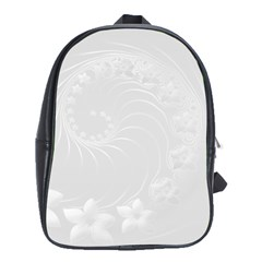 Light Gray Abstract Flowers School Bag (Large)