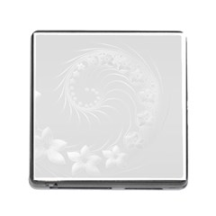 Light Gray Abstract Flowers Memory Card Reader With Storage (square)