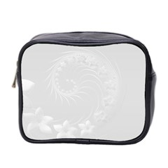 Light Gray Abstract Flowers Mini Travel Toiletry Bag (Two Sides)