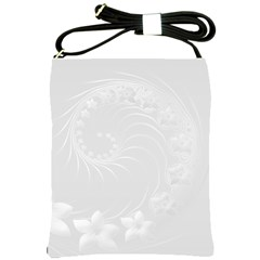 Light Gray Abstract Flowers Shoulder Sling Bag