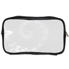 Light Gray Abstract Flowers Travel Toiletry Bag (two Sides)