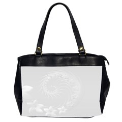 Light Gray Abstract Flowers Oversize Office Handbag (Two Sides)