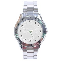 Light Gray Abstract Flowers Stainless Steel Watch (Men s)
