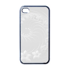 Light Gray Abstract Flowers Apple Iphone 4 Case (black)