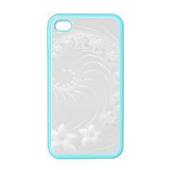 Light Gray Abstract Flowers Apple iPhone 4 Case (Color)