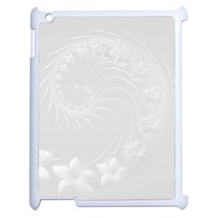 Light Gray Abstract Flowers Apple Ipad 2 Case (white)