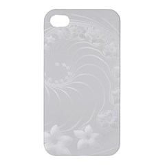 Light Gray Abstract Flowers Apple Iphone 4/4s Hardshell Case