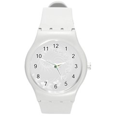 Light Gray Abstract Flowers Plastic Sport Watch (medium)