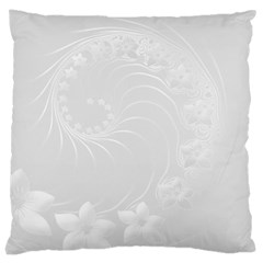 Light Gray Abstract Flowers Large Cushion Case (One Side)