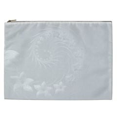 Light Gray Abstract Flowers Cosmetic Bag (XXL)