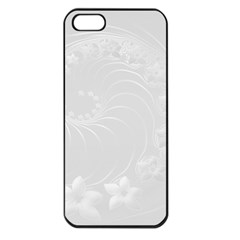 Light Gray Abstract Flowers Apple iPhone 5 Seamless Case (Black)