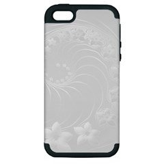 Light Gray Abstract Flowers Apple iPhone 5 Hardshell Case (PC+Silicone)