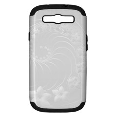 Light Gray Abstract Flowers Samsung Galaxy S III Hardshell Case (PC+Silicone)