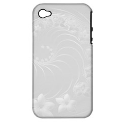 Light Gray Abstract Flowers Apple iPhone 4/4S Hardshell Case (PC+Silicone)