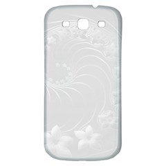 Light Gray Abstract Flowers Samsung Galaxy S3 S Iii Classic Hardshell Back Case