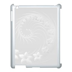 Light Gray Abstract Flowers Apple iPad 3/4 Case (White)